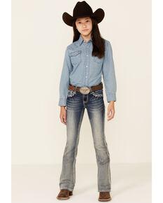 Grace In LA Girls' Light Wash Diamond Stitch Embellished Bootcut Jeans , Blue, hi-res
