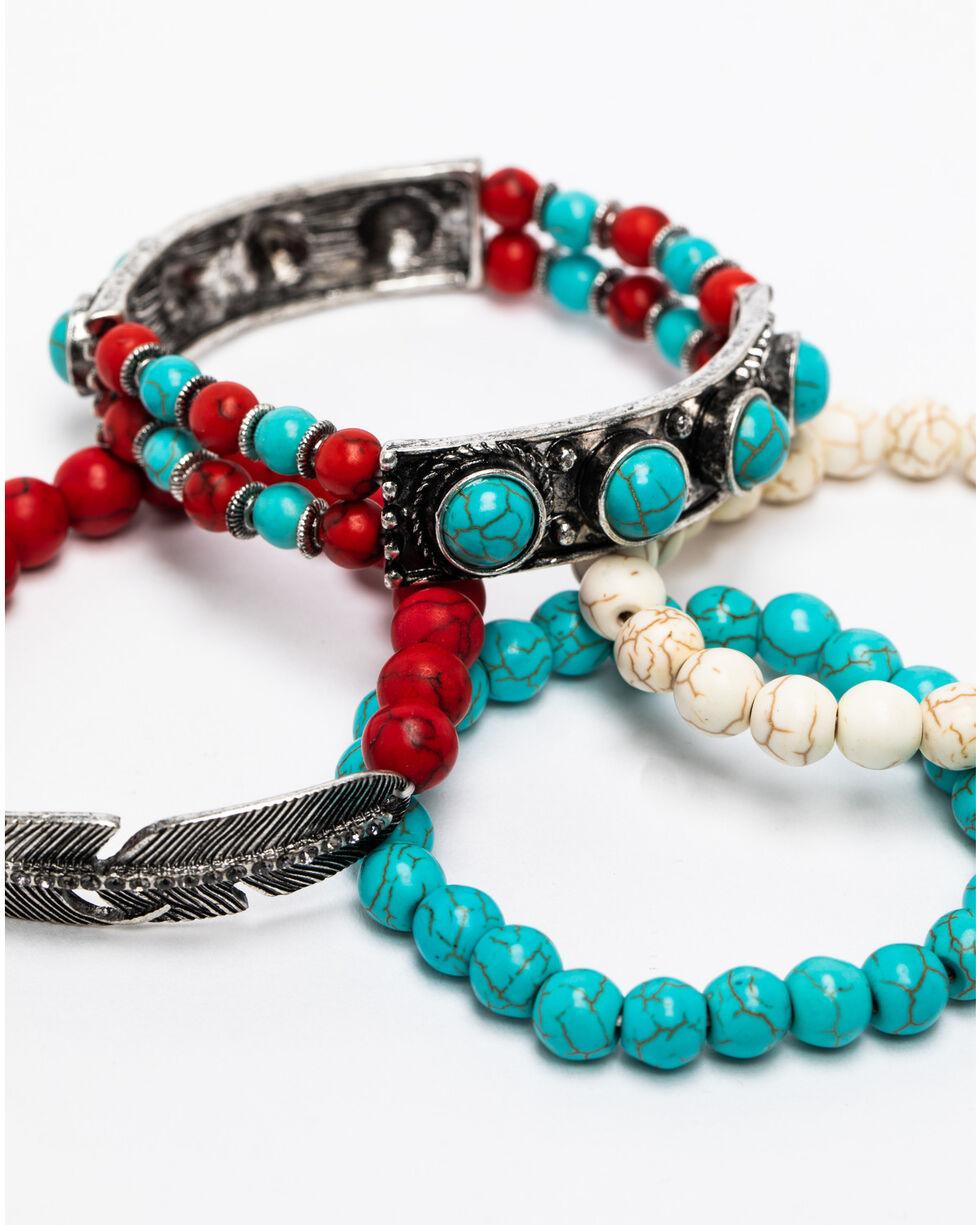 Shyanne Women's Summer Escape 4-Piece Coral Feather Bracelet Set , Silver, hi-res
