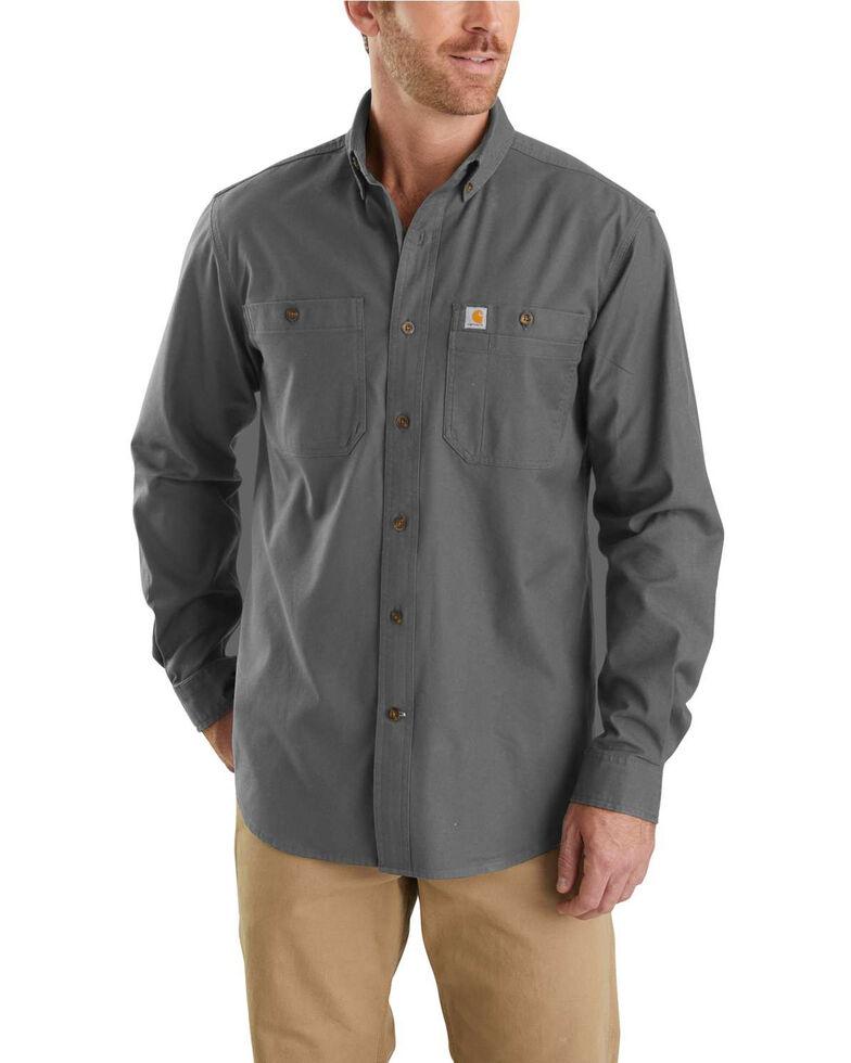 Carhartt Men's Rugged Flex Rigby Long Sleeve Work Shirt - Big , Charcoal, hi-res