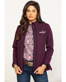 Cowgirl Hardware Women's Horseshoe Arrow Poly Shell Jacket, Burgundy, hi-res