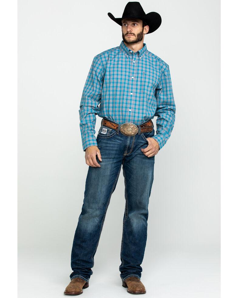 Cody James Core Men's Rio Grande Med Plaid Long Sleeve Western Shirt , Grey, hi-res