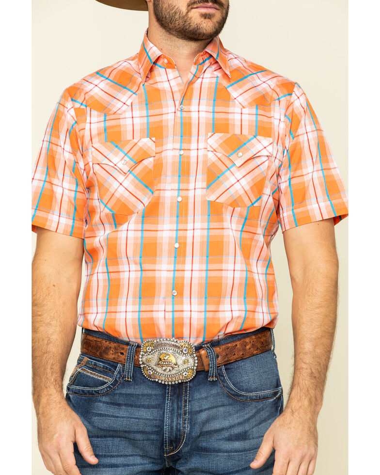 Ely Walker Men's Orange Dobby Plaid Short Sleeve Western Shirt , Orange, hi-res