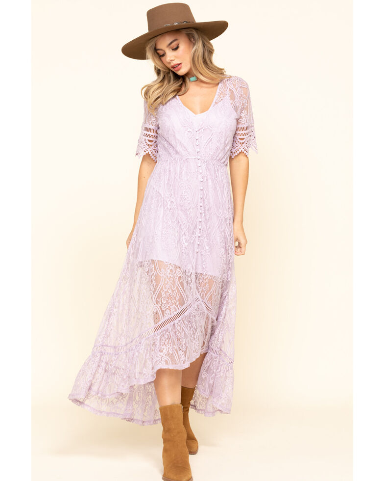 Shyanne Women's Ivory Lace Button Down Hi-Lo Maxi Dress, Lavender, hi-res