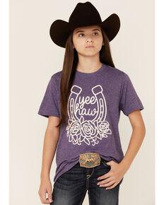Ali Dee Girls' Heather Purple Yee Haw Horseshoe Graphic Short Sleeve Tee , Purple, hi-res