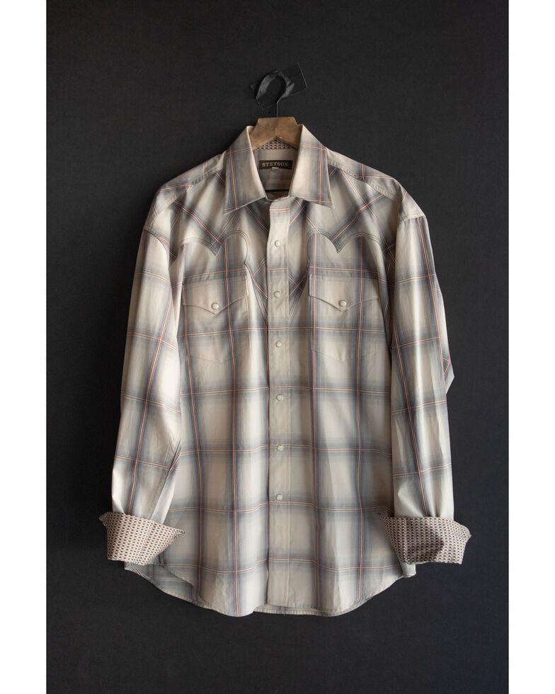 Stetson Men's Desert Valley Large Ombre Plaid Long Sleeve Western Shirt , Grey, hi-res