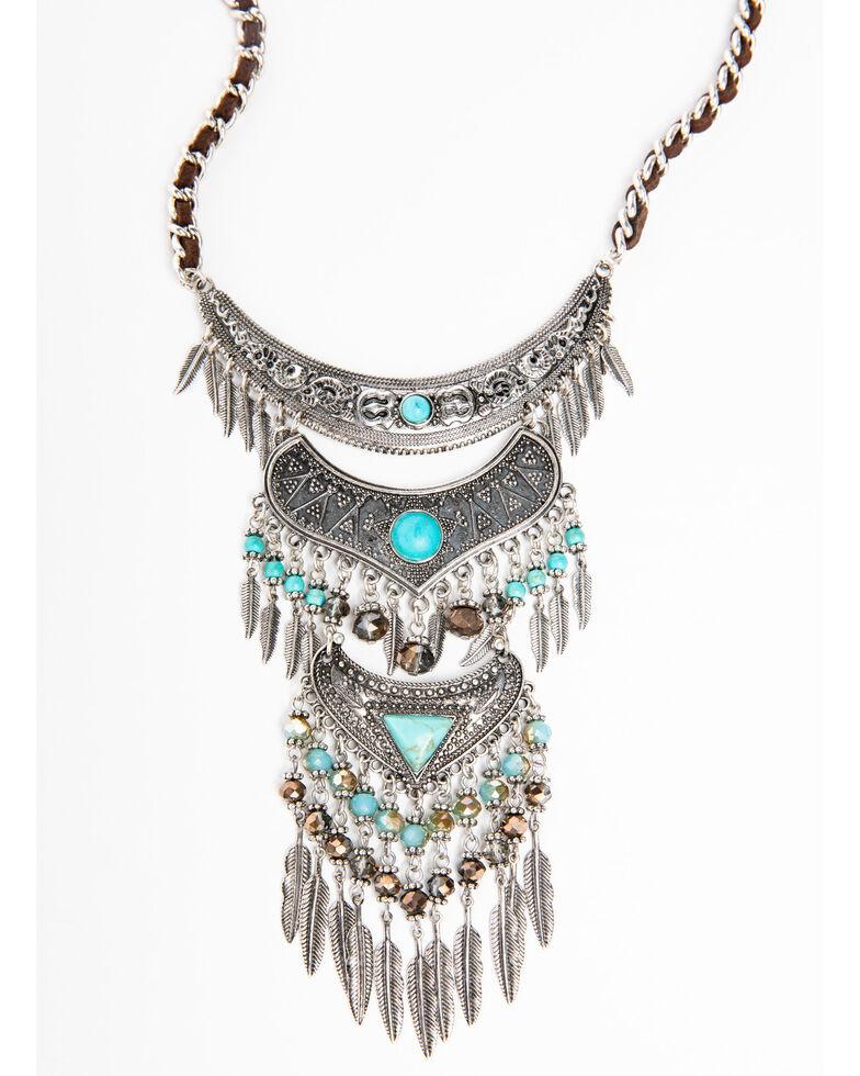 Shyanne Women's Blue Falls Aztec Layered Fringe Necklace, Silver, hi-res