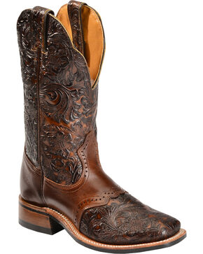 Boulet Hand Tooled Dankan Ranger Cowgirl Boots - Square Toe, Brown, hi-res