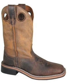Smoky Mountain Boys' Waylon Western Boots - Square Toe, Distressed Brown, hi-res