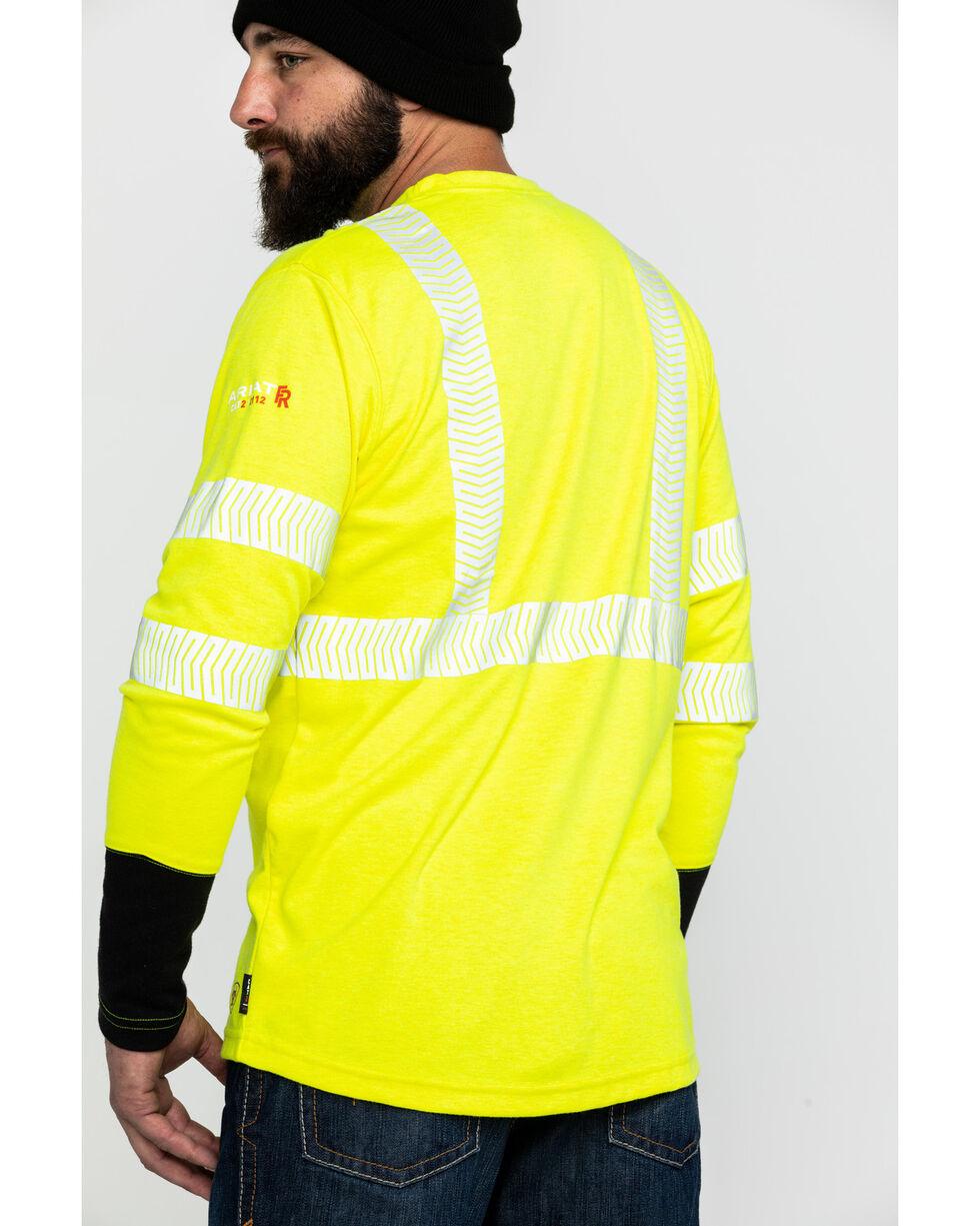 Ariat Men's FR Crew Hi-Vis Long Sleeve Work Shirt , Yellow, hi-res