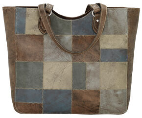 American West Distressed Brown Groovy Soul Large Zip Top Tote Bag  , Blue, hi-res