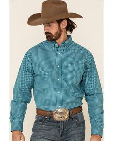 Ariat Men's Olympias Small Plaid Long Sleeve Western Shirt, Teal, hi-res