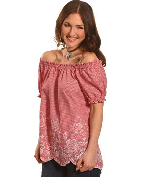 Jody of California Women's Red Gingham Print Top , Red, hi-res