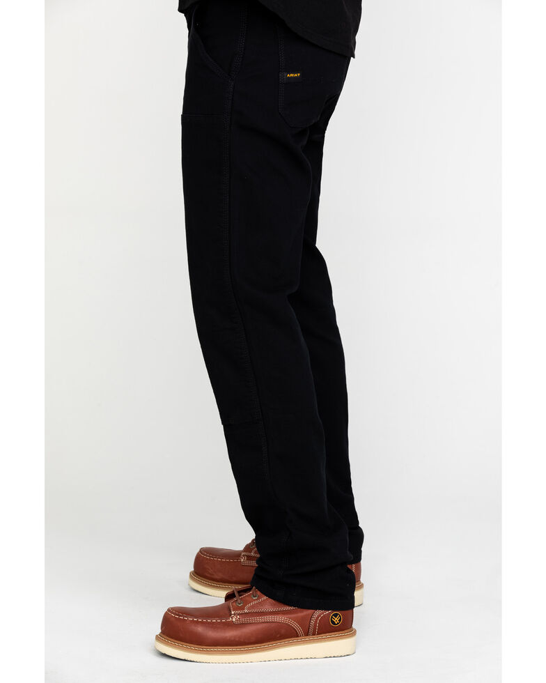 Ariat Men's Black Rebar M4 Made Tough Durastretch Double Front Straight Work Pants - Big, Black, hi-res