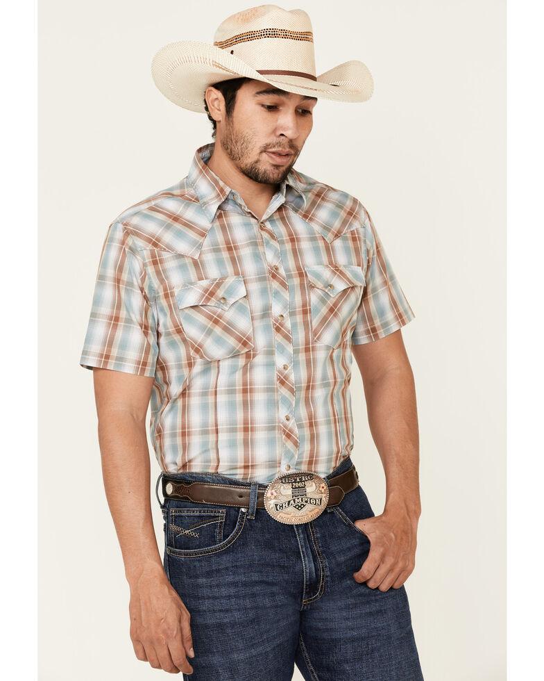 Wrangler Men's Brown Large Plaid Fashion Snap Short Sleeve Western Shirt , Brown, hi-res