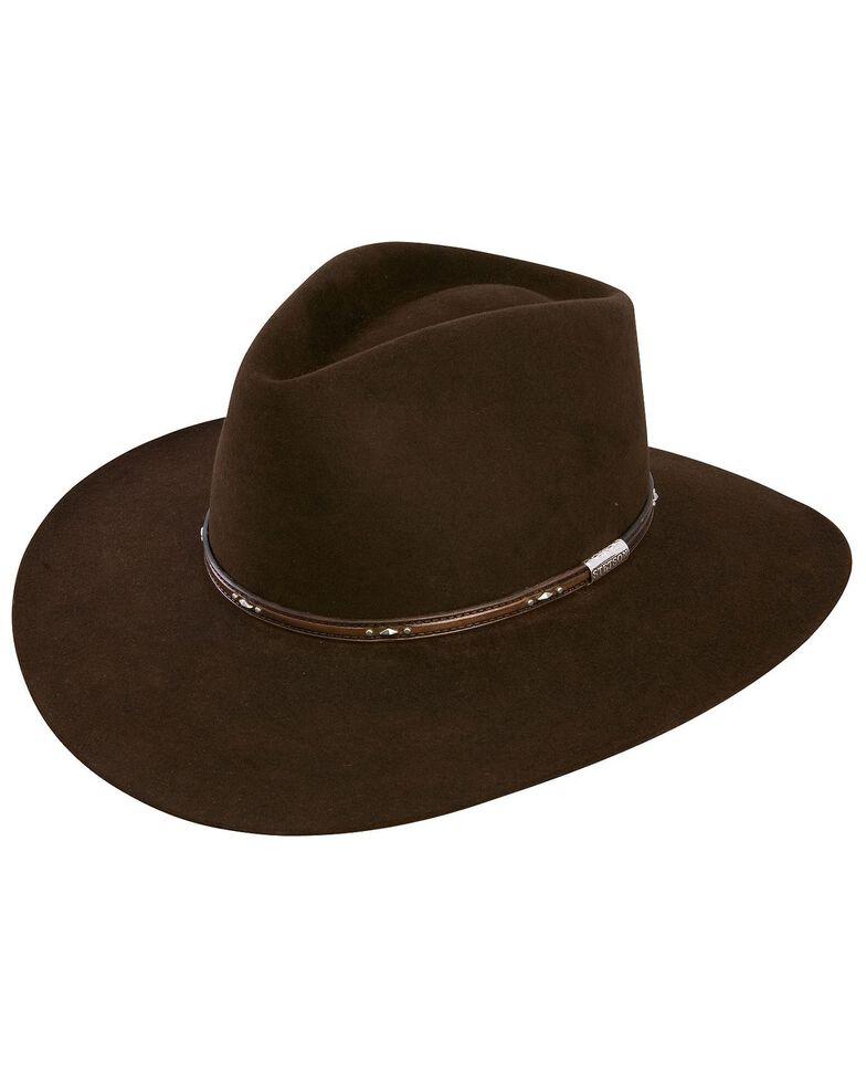 Stetson Men's 5X Pawnee Fur Felt Cowboy Hat, Chocolate, hi-res