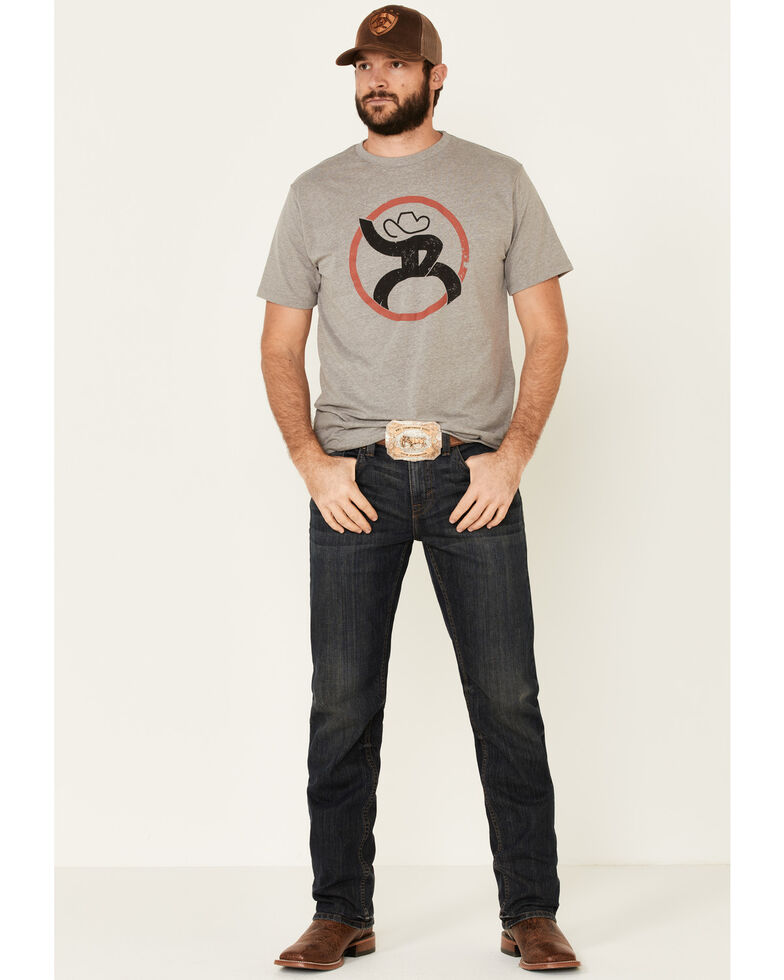 HOOey Men's Grey Strap Logo Graphic T-Shirt , Grey, hi-res