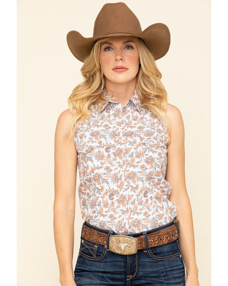 Rough Stock by Panhandle Women's Wimberly Vintage Print Sleeveless Western Shirt , Ivory, hi-res