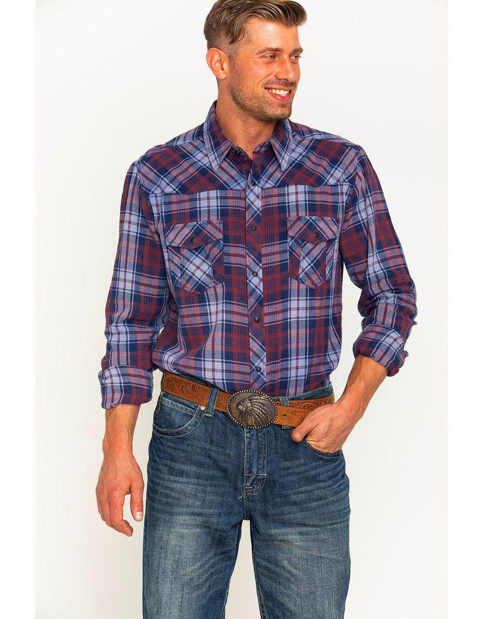 Rock & Roll Cowboy Men's Bleached Wash Flannel Plaid Snap Shirt, Multi, hi-res