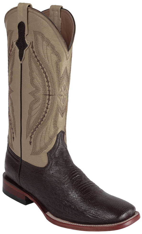 Ferrini Men's Smooth Quill Ostrich Exotic Boots - Square Toe , Chocolate, hi-res