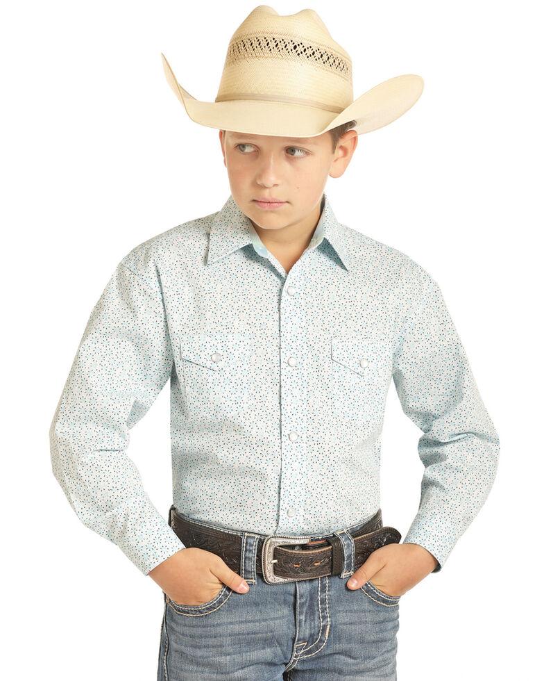 Panhandle Select Boys' Floral Poplin Print Long Sleeve Western Shirt , Light Blue, hi-res