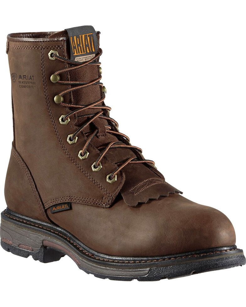 """Ariat WorkHog H2O 8"""" Lace-Up Work Boots - Composite Toe, Distressed, hi-res"""