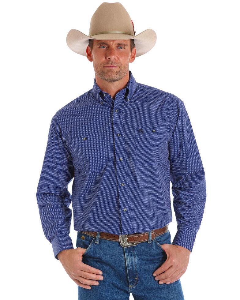 George Strait by Wrangler Men's Blue Dot Geo Print Long Sleeve Shirt, Blue, hi-res