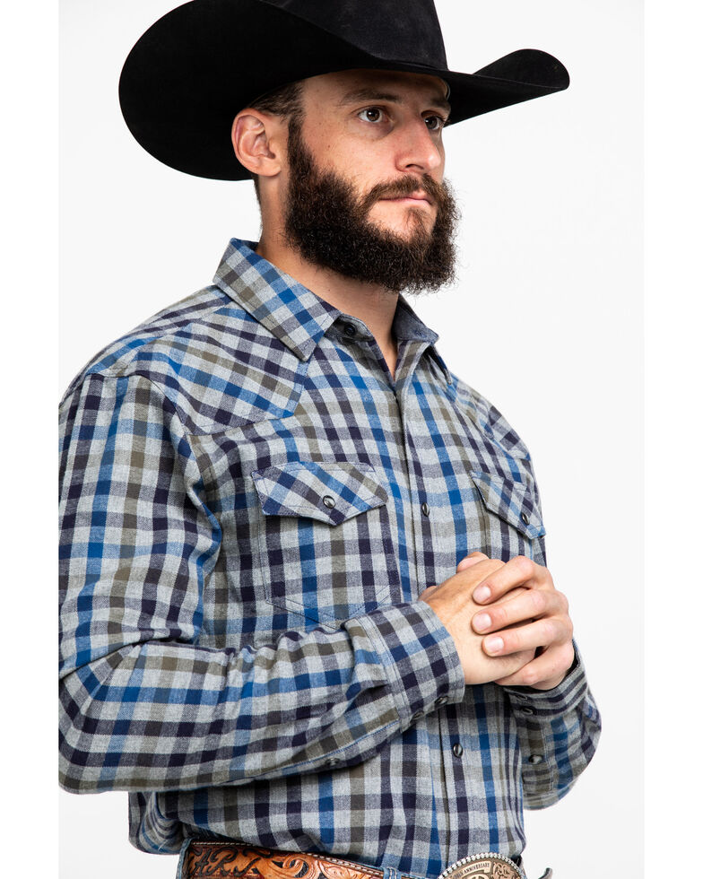 Cody James Men's Range Finder Plaid Long Sleeve Western Flannel Shirt - Tall , Grey, hi-res