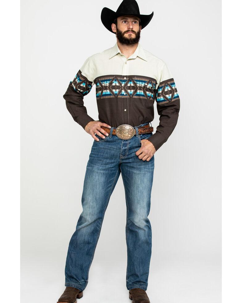 Panhandle Men's Aztec Border Print Long Sleeve Western Shirt , Brown, hi-res