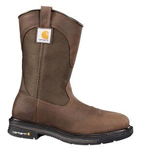Carhartt Dark Bison Brown Wellington Work Boots - Steel Toe, Bison, hi-res
