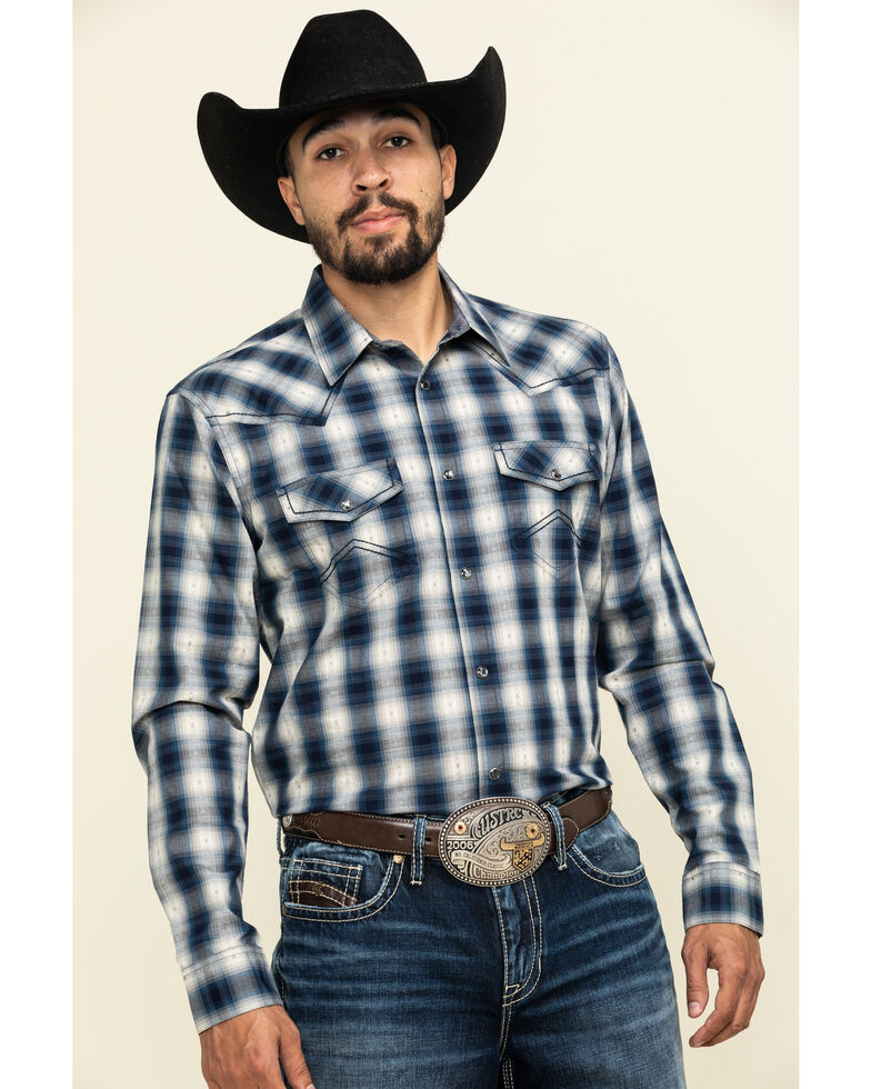Cody James Men's Pass The Buck Plaid Long Sleeve Western Shirt , Blue, hi-res