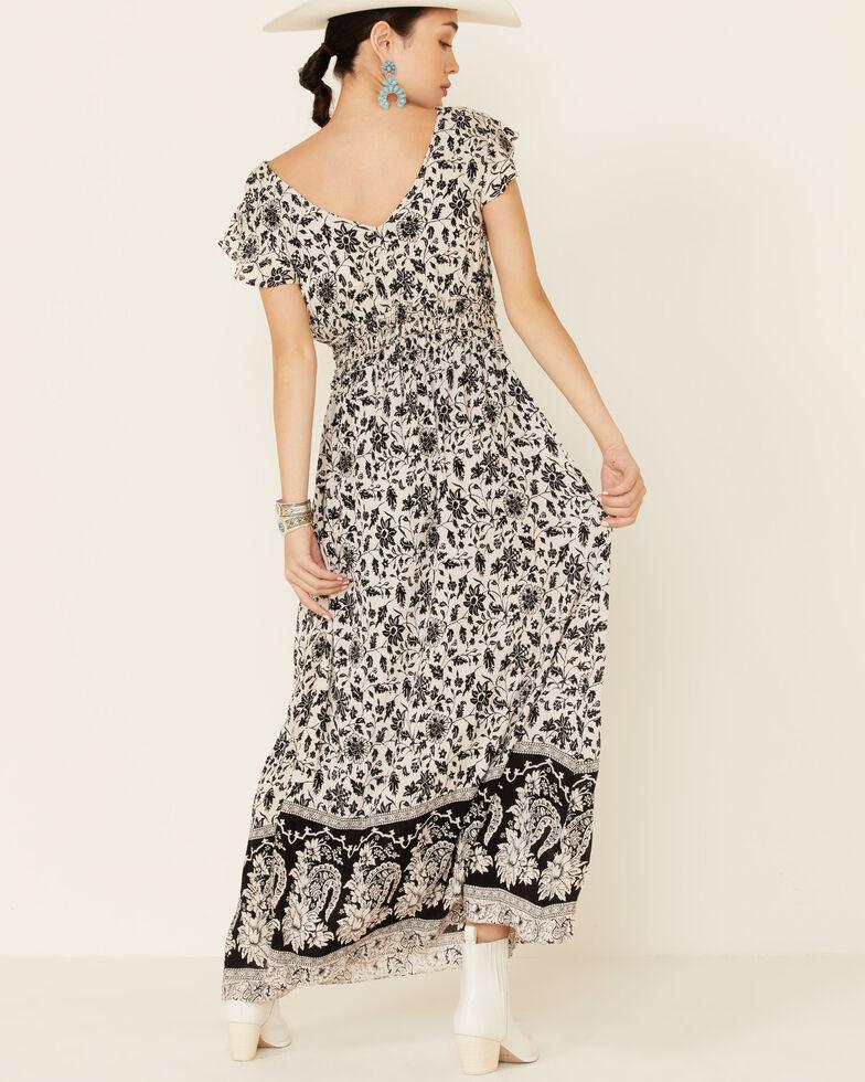 Angie Women's Flutter Sleeve Floral Dress, Black/white, hi-res