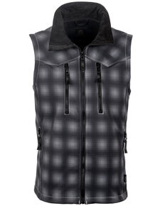 STS Ranchwear Men's Black Plaid Perf Vest - Big , Black, hi-res