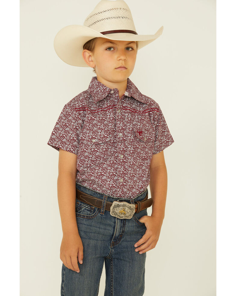 Cowboy Hardware Boys' Burgundy Paisley Print Long Sleeve Snap Western Shirt , Burgundy, hi-res