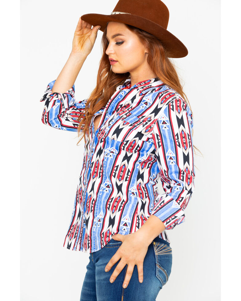 Rock & Roll Cowgirl Women's Poplin Aztec Print Long Sleeve Western Shirt , Blue, hi-res