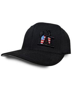 Oil Field Hats Blackout USA Flag Ball Cap, Black, hi-res