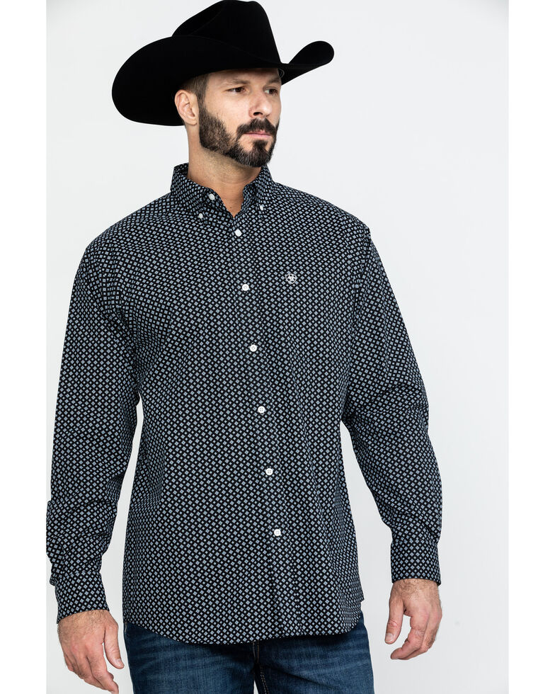 Ariat Men's Wrinkle Free Cleverly Geo Print Long Sleeve Western Shirt , Black, hi-res