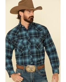 Resistol Men's Blue Hall Ombre Large Plaid Long Sleeve Western Shirt , Blue, hi-res