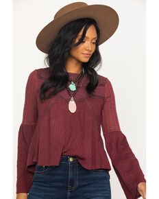 Miss Me Women's Burgundy Waffle Knit Lace Bell Sleeve Top, Burgundy, hi-res