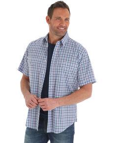 Wrangler Men's Wrinkle-Resist Purple Plaid Short Sleeve Western Shirt , Purple, hi-res