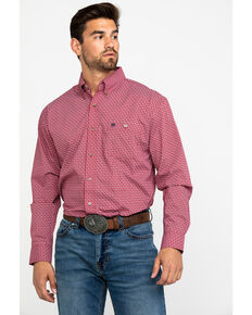 Wrangler Men's Classic Garnet Geo Print Long Sleeve Western Shirt , Red, hi-res