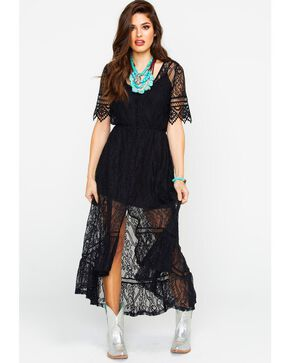 Shyanne Women's Allover Lace Maxi Dress , Black, hi-res