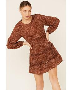 Very J Women's Mocha Print Tiered Dress, Brown, hi-res