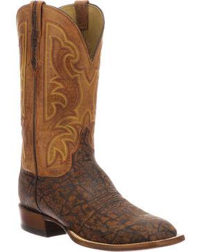 Lucchese Men's Handmade Carrington Cognac Elephant Cowboy Boots - Square Toe, Cognac, hi-res