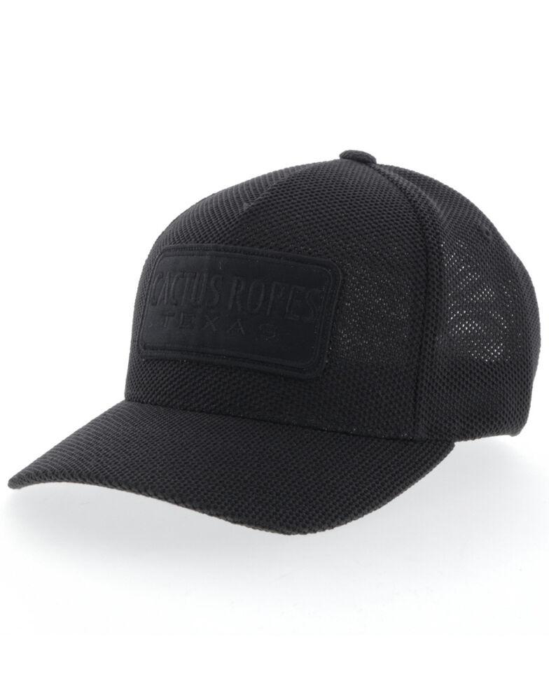 HOOey Men's Black On Black Cactus Ropes Flex Fit Mesh Ball Cap , Black, hi-res