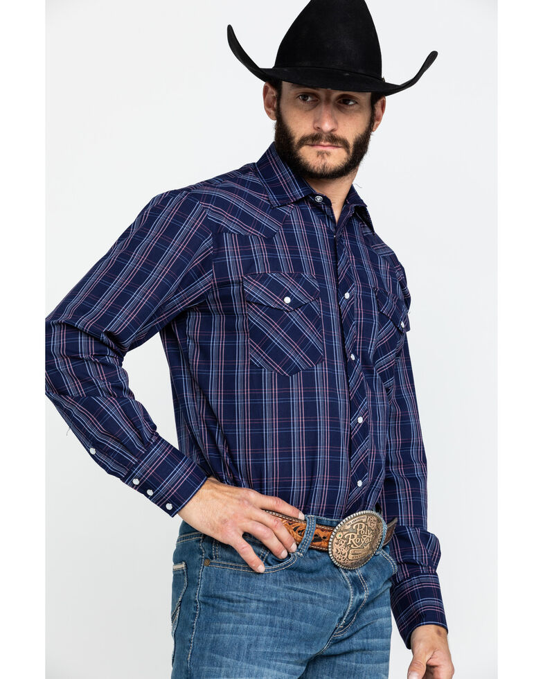 Roper Men's Classic Navy Woven Plaid Long Sleeve Western Shirt , Navy, hi-res