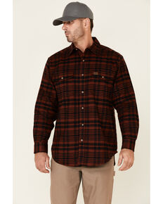 Wrangler Riggs Men's Red & Black Large Plaid Long Sleeve Button-Down Work Flannel Shirt , Red, hi-res