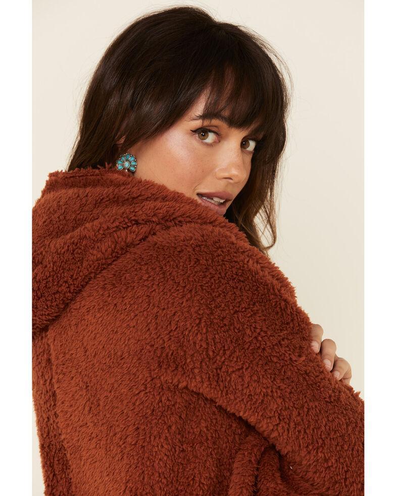 Derek Heart Women's Fuzzy Hooded Open Front Cardigan , Rust Copper, hi-res
