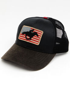 Cody James Men's American Cowboy Flag Patch Mesh Cap , Black, hi-res