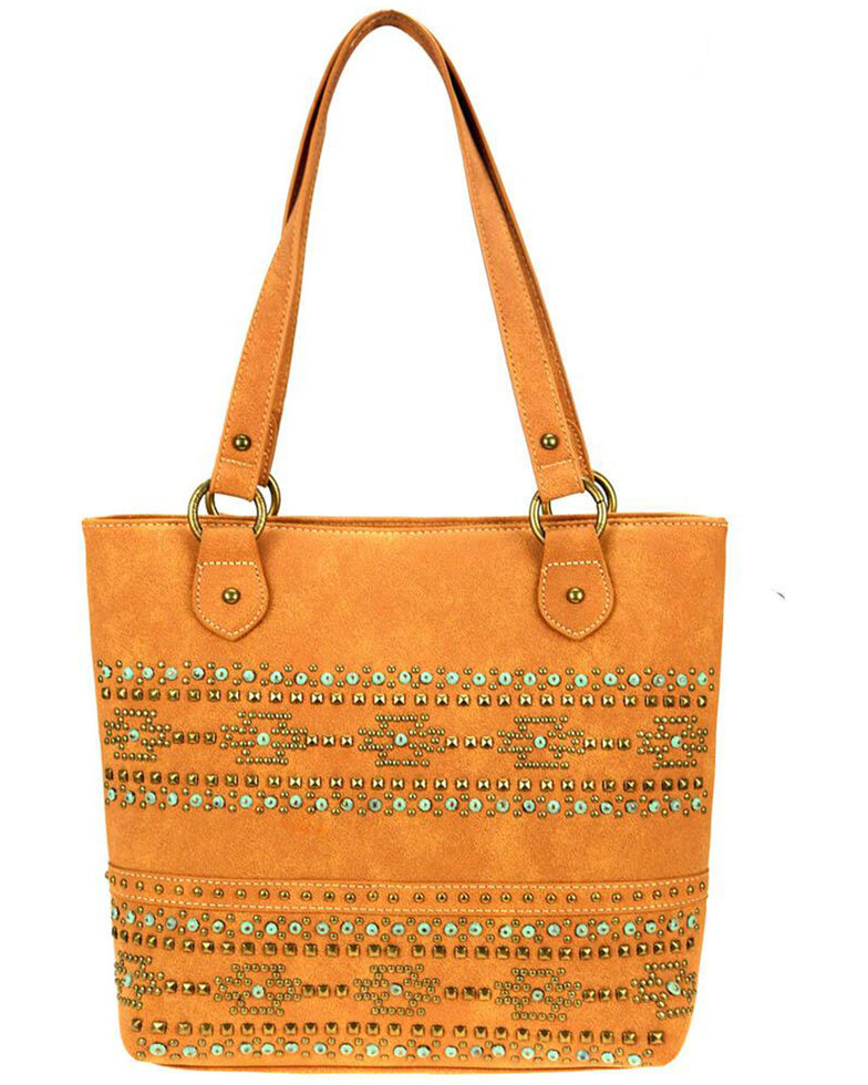Montana West Women's Studded Aztec Tote Bag, Brown, hi-res