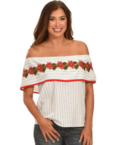 Ces Femme Women's Off The Shoulder Embroidered Top , White, hi-res